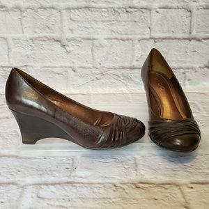 ALDO Dark Brown Leather Wedge Heels 5
